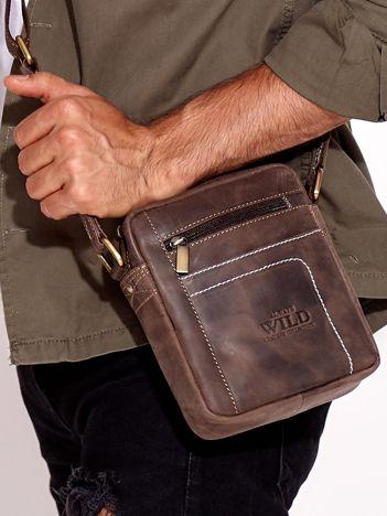 Ciemnobrązowa torba męska ze skóry naturalnej