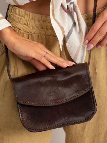 Ciemnobrązowa torebka damska ze skóry naturalnej