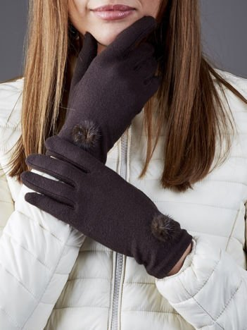Ciemnobrązowe rękawiczki z pomponikami