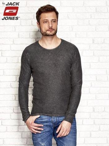 Ciemnobrązowy dekatyzowany sweter męski