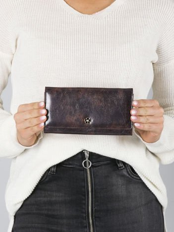 Ciemnobrązowy podłużny portfel skórzany