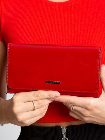 Ciemnoczerwony skórzany portfel damski