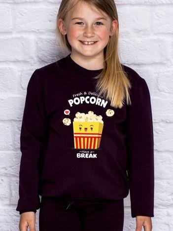 Ciemnofioletowa bluza dziecięca z popcornem