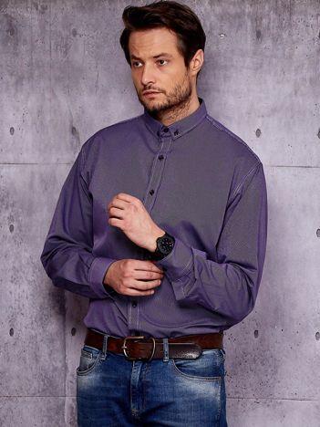 Ciemnofioletowa koszula męska w drobny pionowy wzór PLUS SIZE