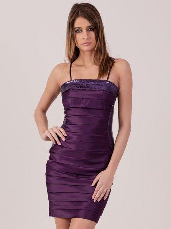 Ciemnofioletowa sukienka z cekinowymi modułami