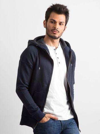 Ciemnogranatowa bawełniana bluza męska z kapturem