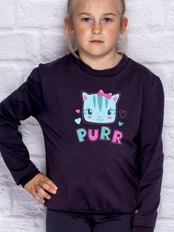 Ciemnogranatowa bluza dla dziewczynki z kotkiem