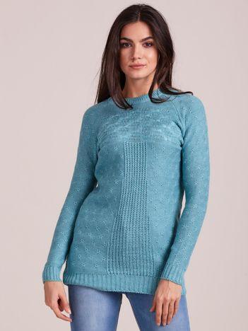Ciemnomiętowy sweter damski