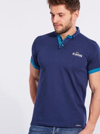 Ciemnoniebieska bawełniana męska koszulka polo