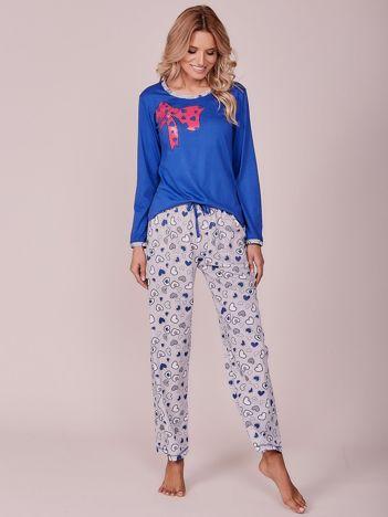 Ciemnoniebieska bawełniana piżama z nadrukiem