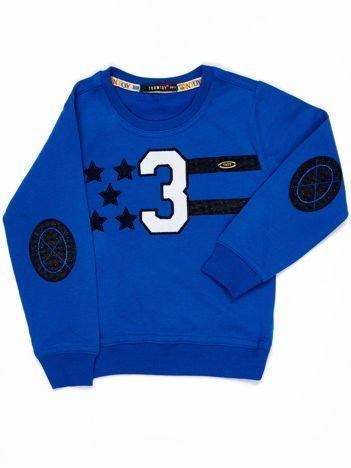 Ciemnoniebieska bluza dziecięca z naszywkami