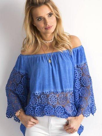 Ciemnoniebieska bluzka hiszpanka
