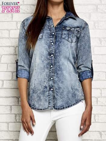 Ciemnoniebieska jeansowa koszula acid wash