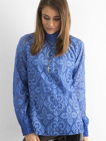 Ciemnoniebieska koronkowa bluzka