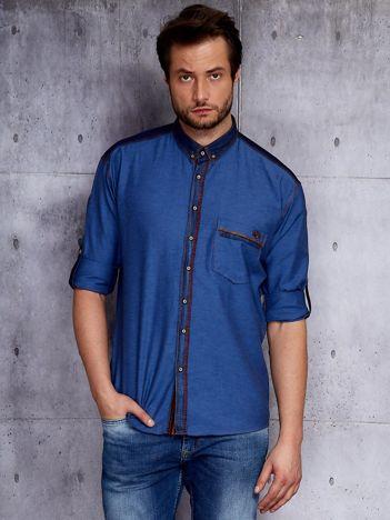 Ciemnoniebieska koszula męska z denimową listwą