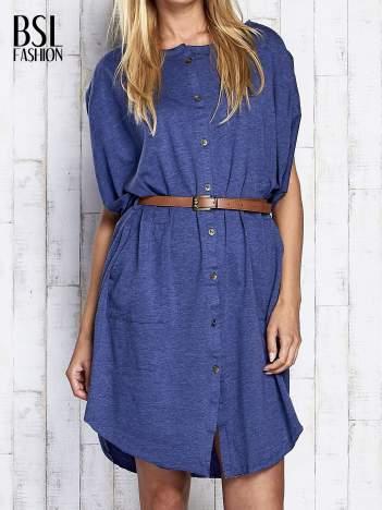 Ciemnoniebieska melanżowa sukienka oversize z guzikami