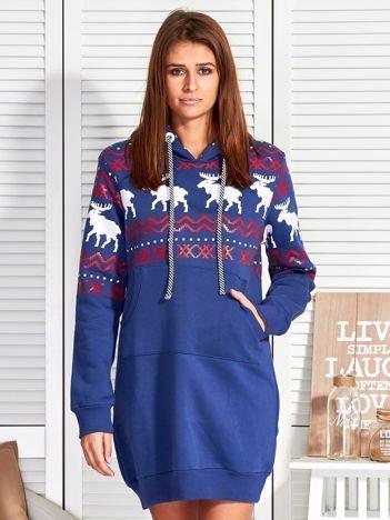 Ciemnoniebieska ocieplana bluza w norweskie wzory