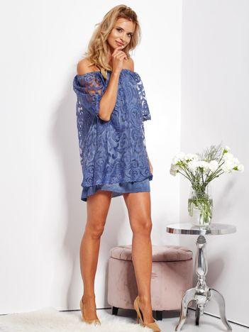 Ciemnoniebieska sukienka hiszpanka mini ze wzorem paisley