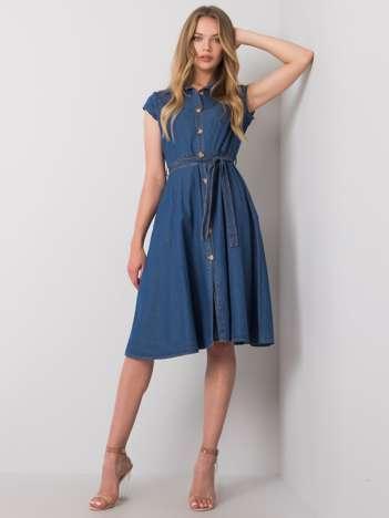 Ciemnoniebieska sukienka z guzikami Depika RUE PARIS