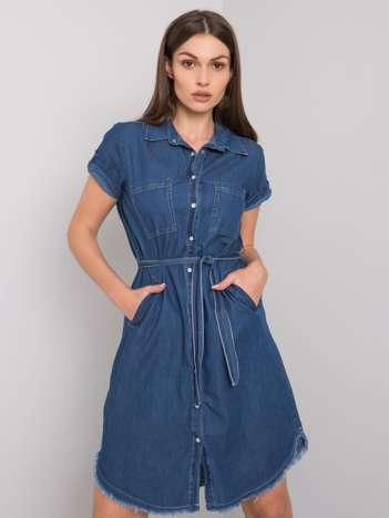 Ciemnoniebieska sukienka z paskiem Kathi RUE PARIS