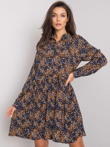 Ciemnoniebieska sukienka z printami Millenia FRESH MADE