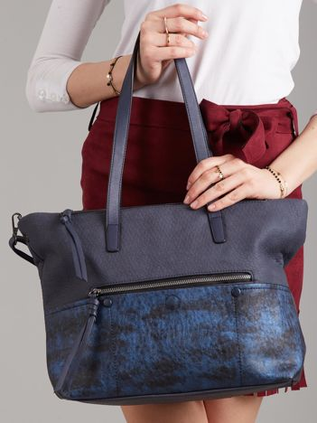 Ciemnoniebieska torba damska shopper z ekoskóry