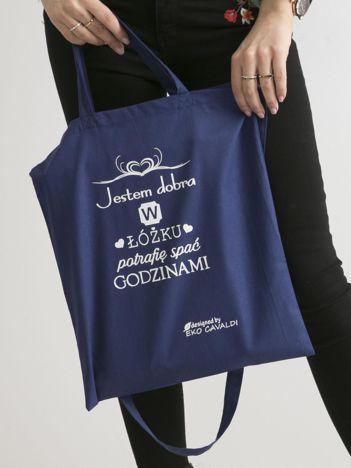 Ciemnoniebieska torba materiałowa JESTEM DOBRA W ŁÓŻKU