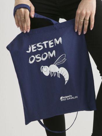 Ciemnoniebieska torba materiałowa JESTEM OSOM