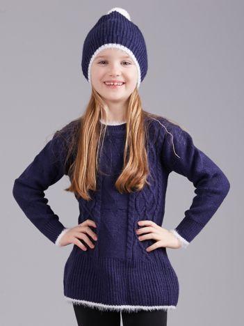 Ciemnoniebieski komplet zimowy dla dziewczynki
