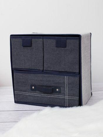 Ciemnoniebieski organizer z szufladami