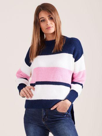Ciemnoniebieski sweter damski w paski