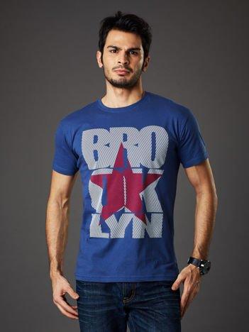 Ciemnoniebieski t-shirt męski Brooklyn