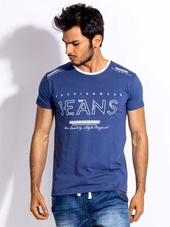 Ciemnoniebieski t-shirt męski JEANS