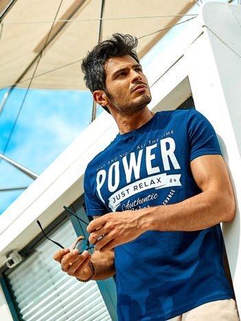 Ciemnoniebieski t-shirt męski Power