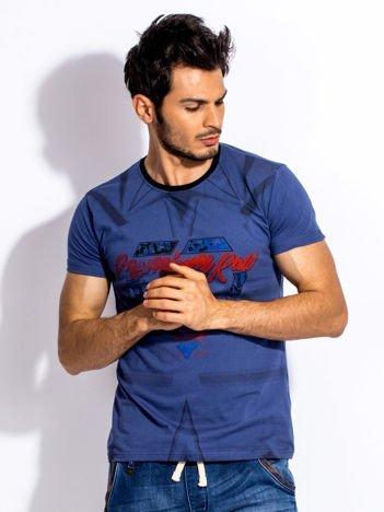 Ciemnoniebieski t-shirt męski z graficznym printem