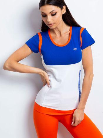 Ciemnoniebieski t-shirt z aplikacją
