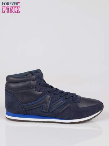 Ciemnoniebieskie buty sportowe faux leather Glory za kostkę w stylu koszykarskim