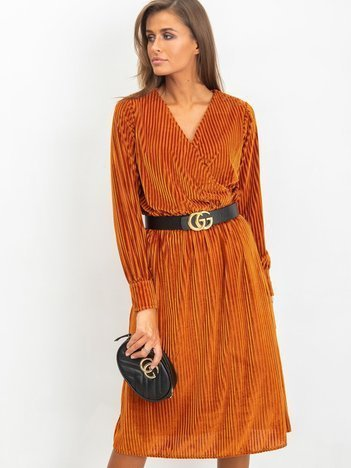 Ciemnopomarańczowa sukienka Attractive