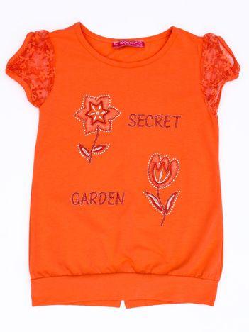 Ciemnopomarańczowy t-shirt dla dziewczynki z kwiatami
