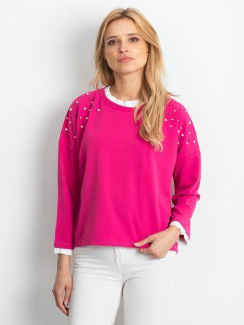 Ciemnoróżowa bluzka damska z perełkami