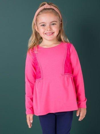 Ciemnoróżowa bluzka dziewczęca z koronkowymi wstawkami