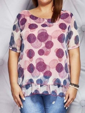 Ciemnoróżowa bluzka mgiełka w kolorowe wzory PLUS SIZE