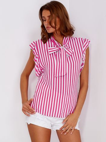 Ciemnoróżowa bluzka w paski z wiązaniem