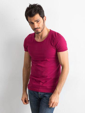 Ciemnoróżowa gładka koszulka męska