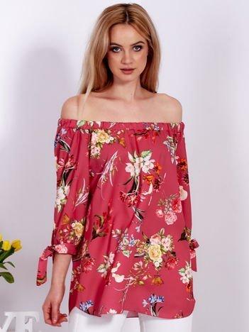 Ciemnoróżowa kwiatowa bluzka hiszpanka