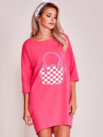 Ciemnoróżowa luźna dresowa sukienka