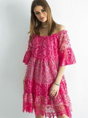 Ciemnoróżowa sukienka hiszpanka z koronką