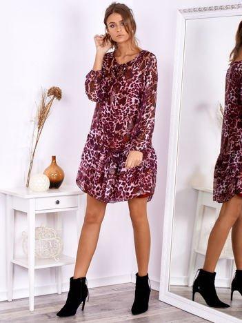 Ciemnoróżowa sukienka w panterkę z jedwabiem