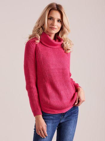 Ciemnoróżowy damski sweter golf