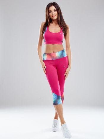 Ciemnoróżowy komplet sportowy z kolorowymi wstawkami